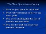 the ten questions cont