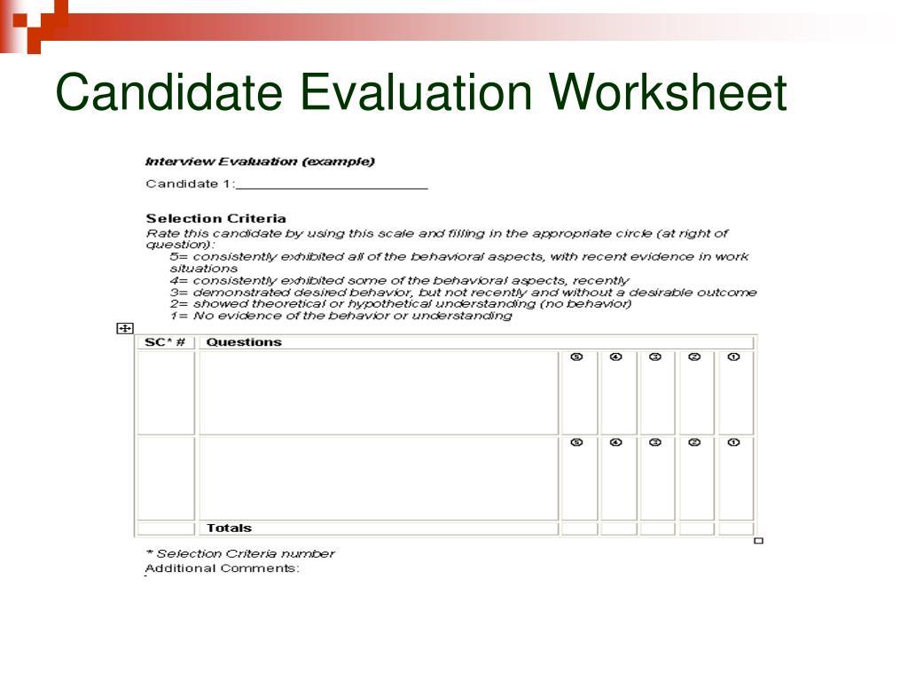 Candidate Evaluation Worksheet