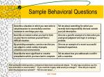 sample behavioral questions