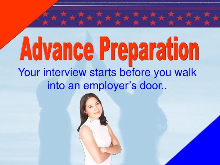 Advance Preparation