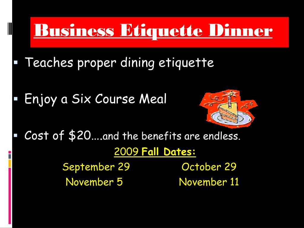 Business Etiquette Dinner
