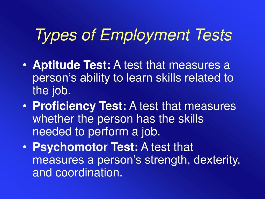 Types of Employment Tests