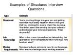 examples of structured interview questions