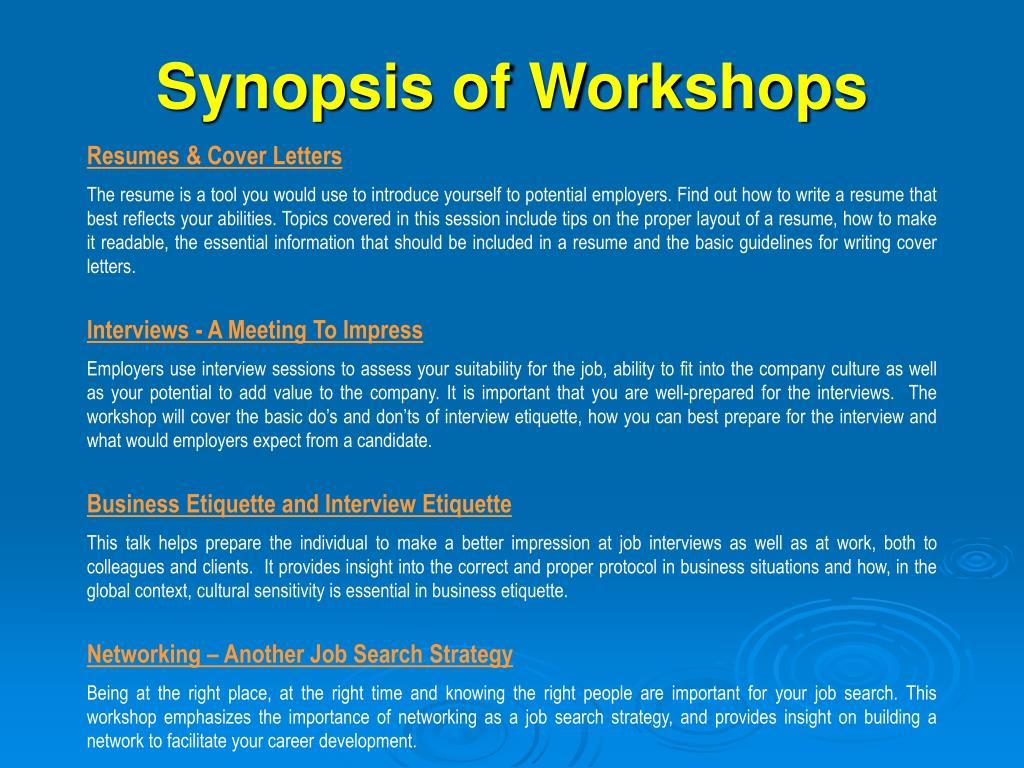 Synopsis of Workshops