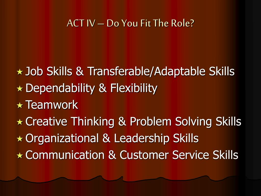 ACT IV – Do You Fit The Role?