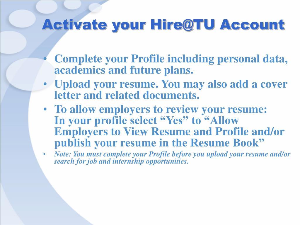 Activate your Hire@TU Account