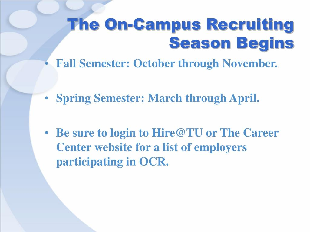 The On-Campus Recruiting Season Begins