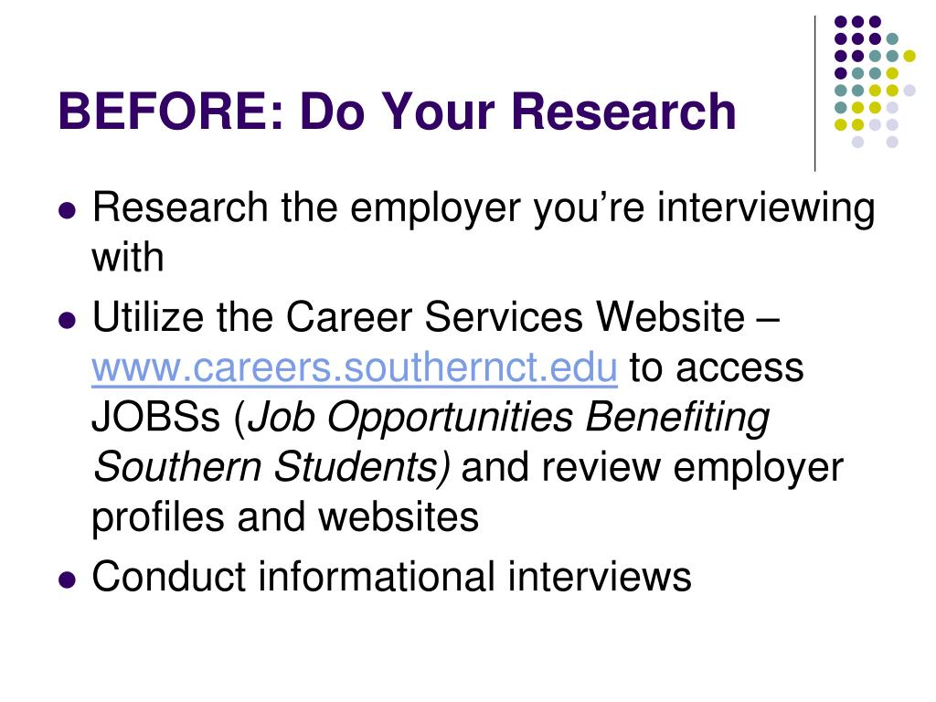BEFORE: Do Your Research