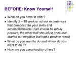 before know yourself