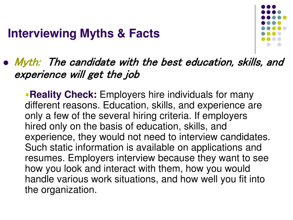 Interviewing Myths & Facts