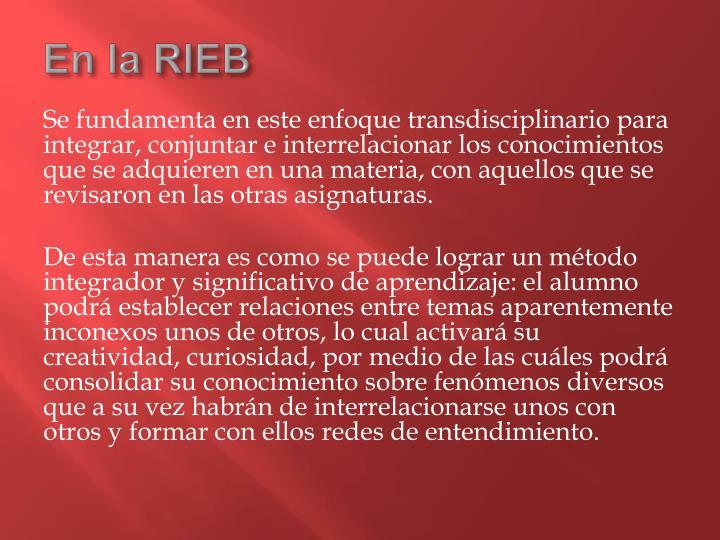 En la RIEB