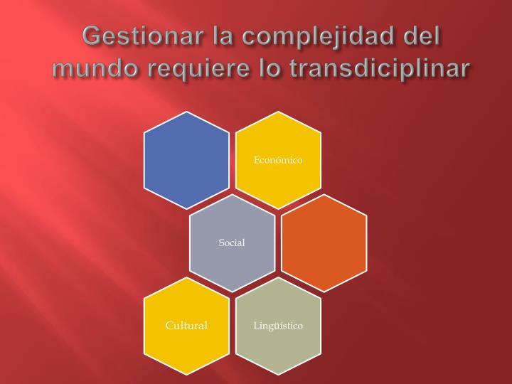 Gestionar la complejidad del mundo requiere lo transdiciplinar