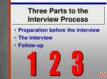 three parts to the interview process