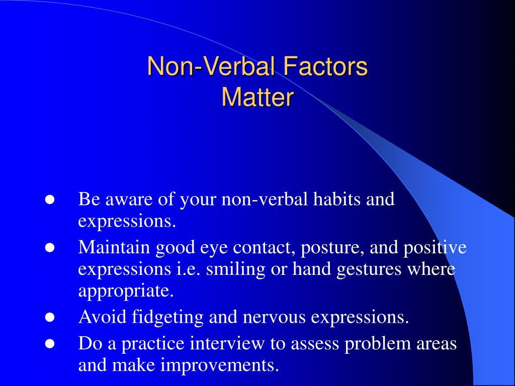 Non-Verbal Factors