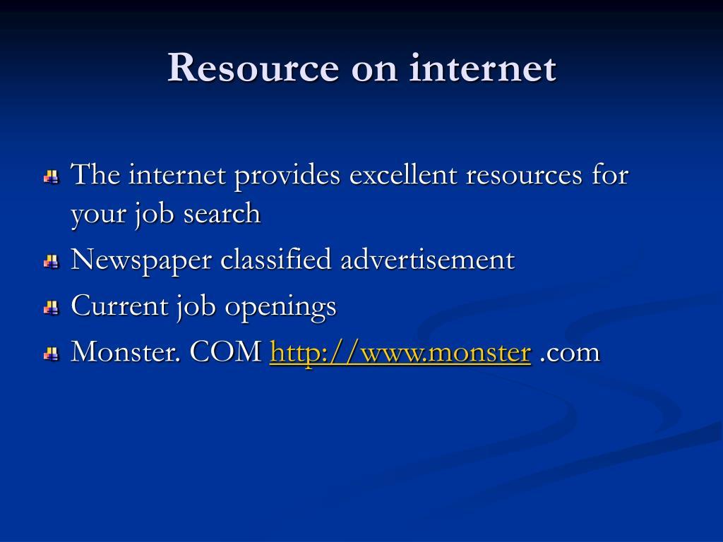 Resource on internet