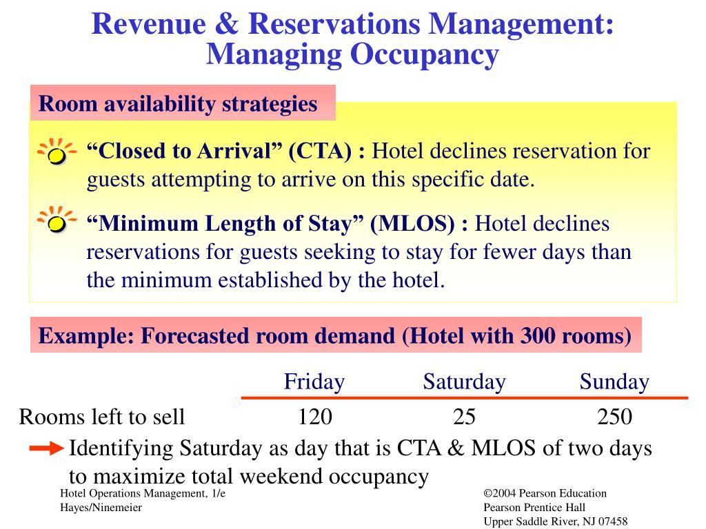 Revenue & Reservations Management:     Managing Occupancy