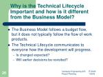 why is the technical lifecycle important and how is it different from the business model