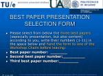 best paper presentation selection form