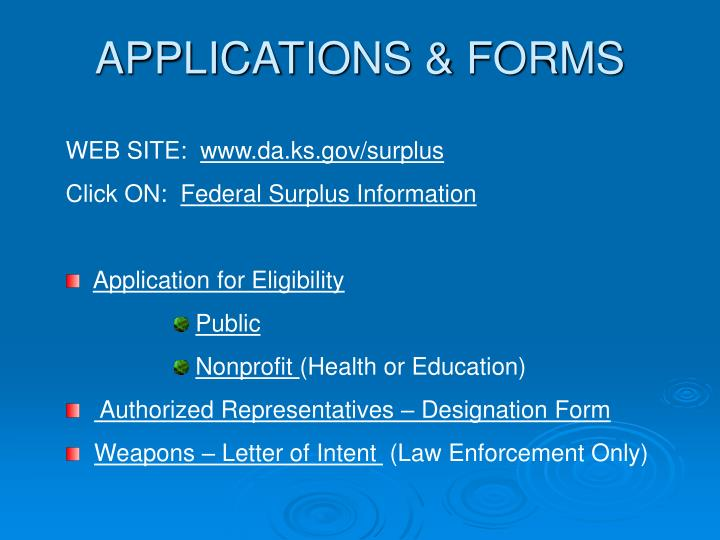 APPLICATIONS & FORMS