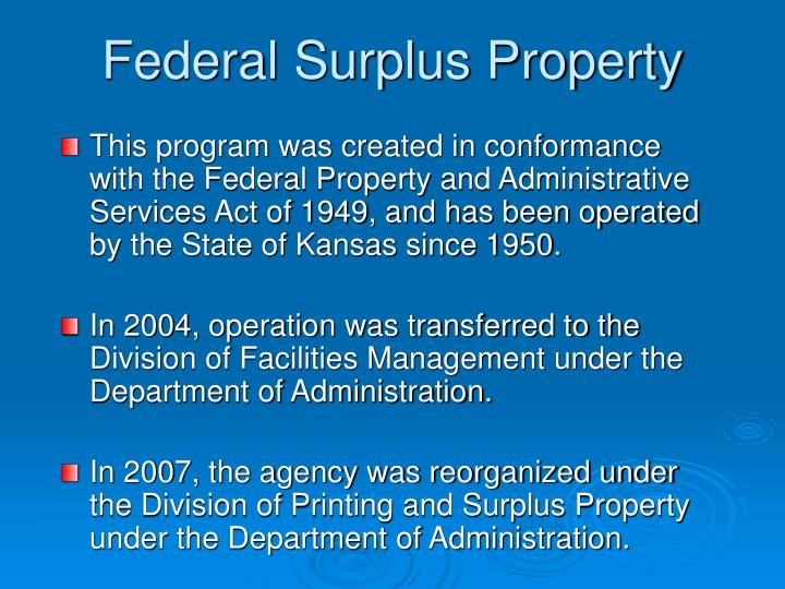 Federal surplus property