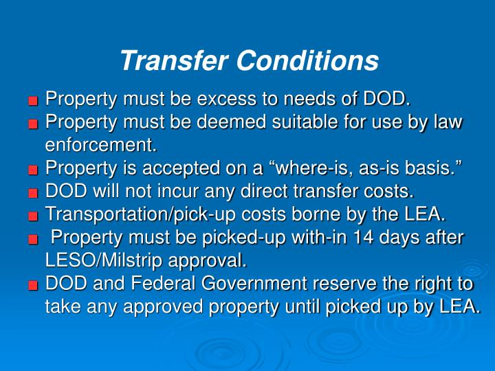 Property must be excess to needs of DOD.