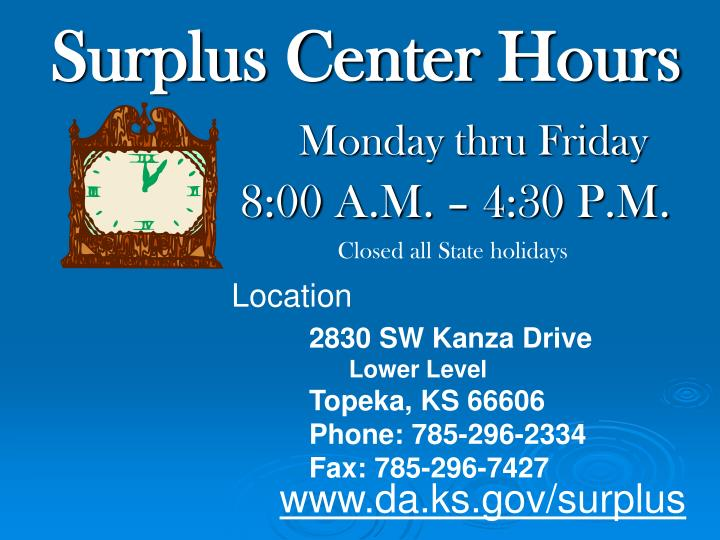 Surplus Center Hours