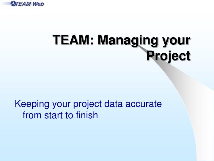 Team managing your project