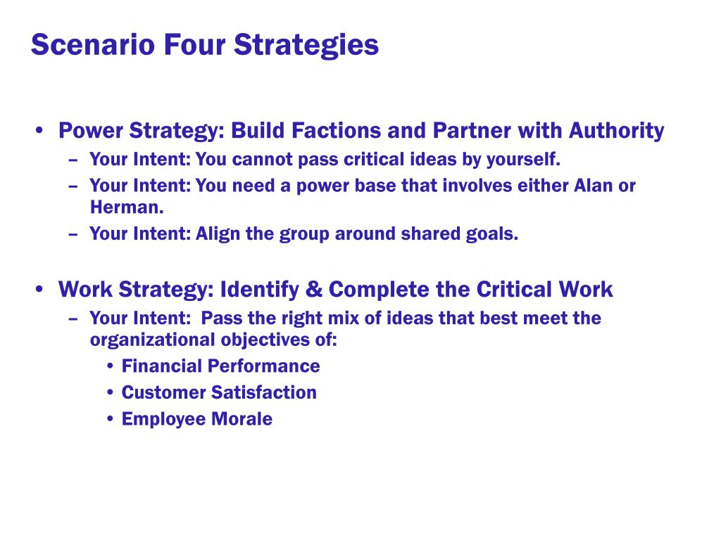 Scenario Four Strategies