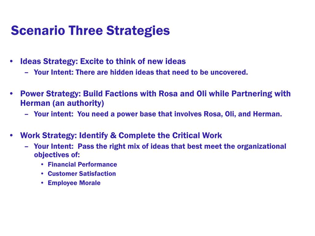 Scenario Three Strategies