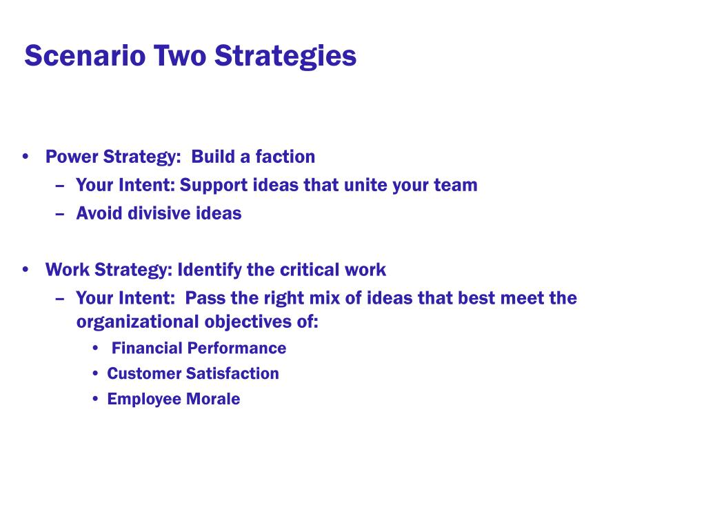 Scenario Two Strategies