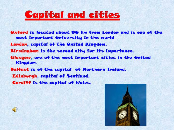 C apital and cities