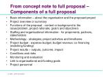from concept note to full proposal components of a full proposal
