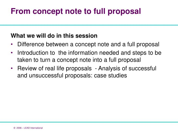 difference between concept note and proposal