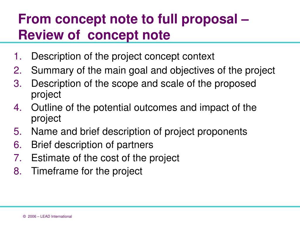 Description of the project concept context
