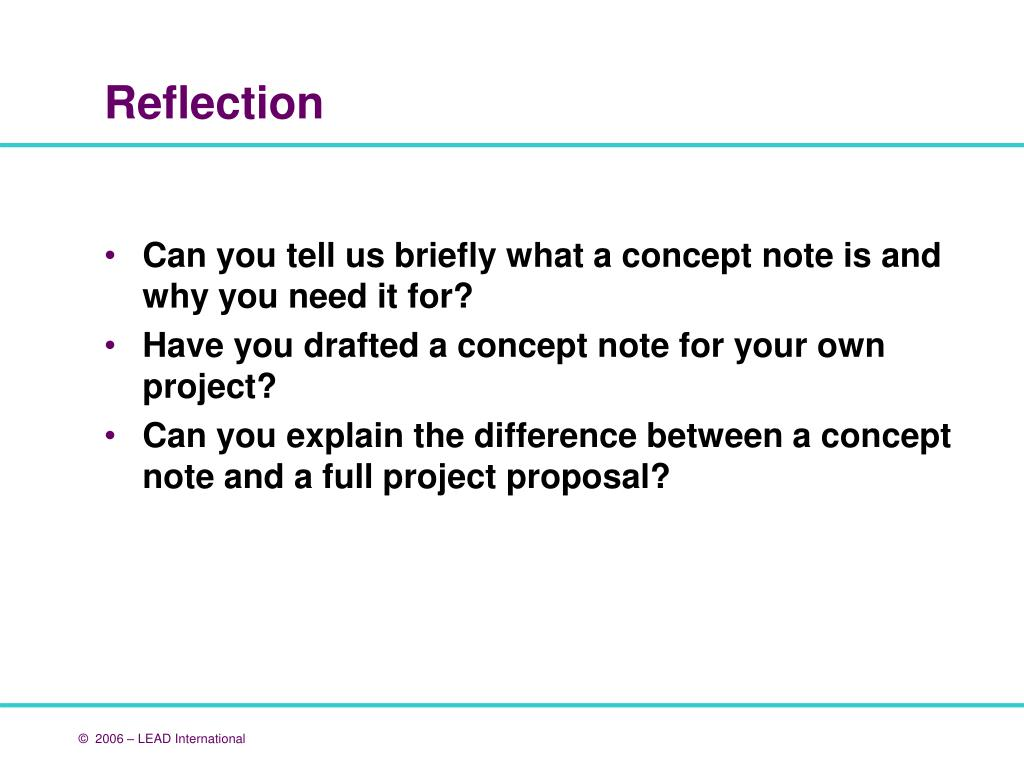 Can you tell us briefly what a concept note is and why you need it for?