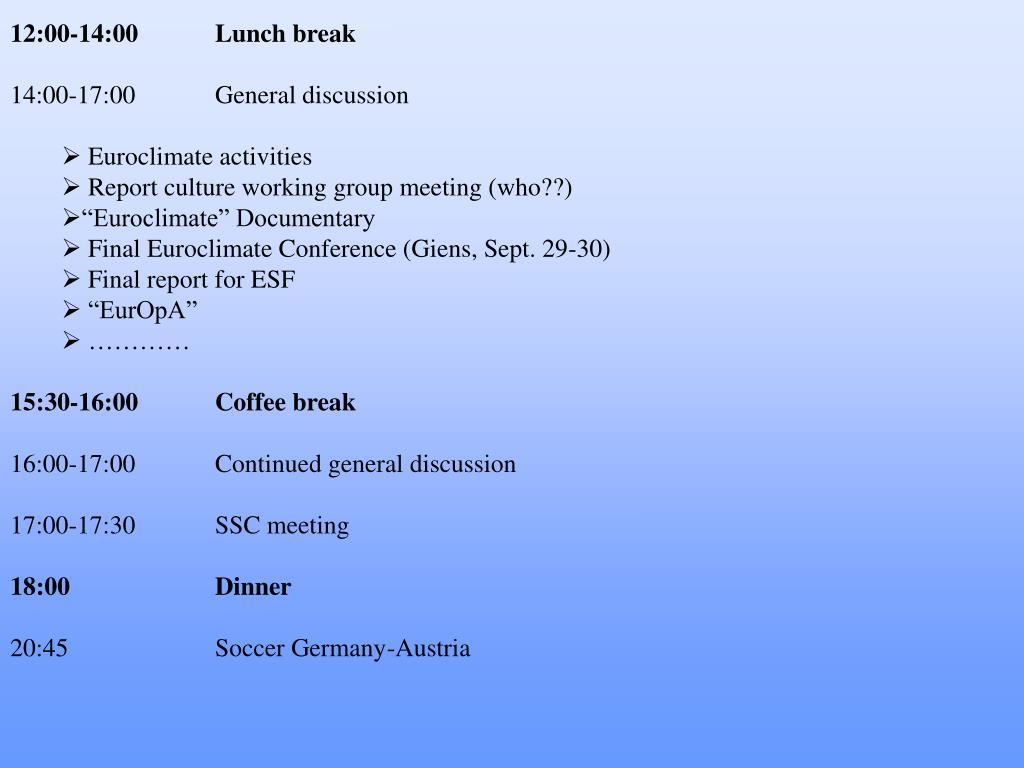 12:00-14:00Lunch break