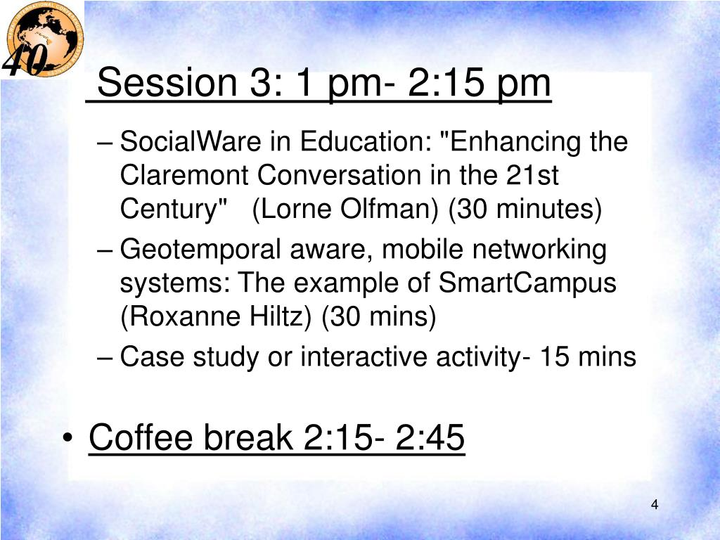 Session 3: 1 pm- 2:15 pm