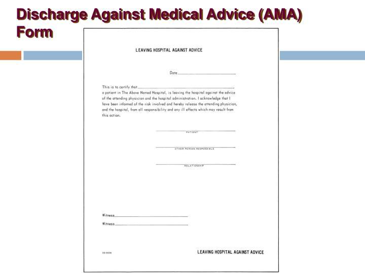 Ppt Discharge Against Medical Advice Ama