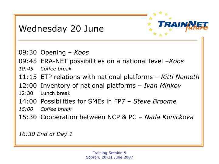 Wednesday 20 june