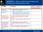 activity 1 direct or indirect discrimination quiz complete the following quiz in pairs