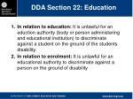 dda section 22 education
