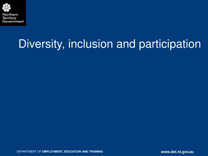 diversity inclusion and participation n.
