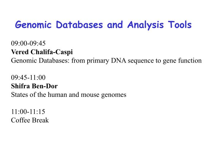 Genomic Databases and Analysis Tools