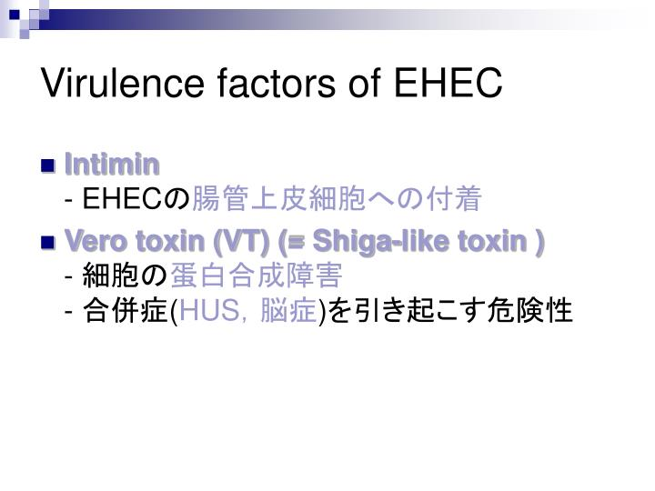 Virulence factors of EHEC