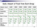 daily amount of food from each group