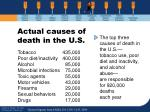 actual causes of death in the u s
