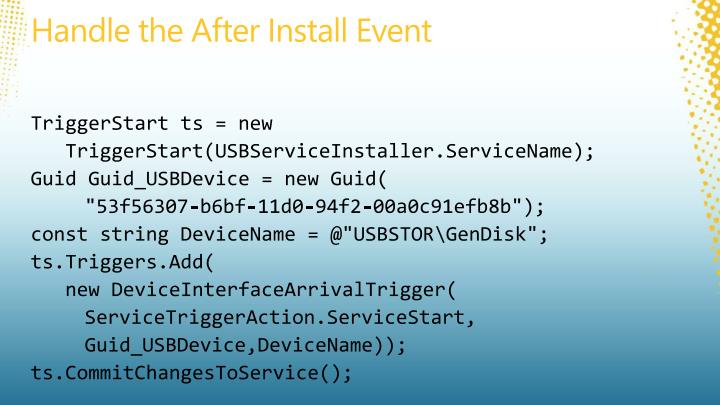 Handle the After Install Event
