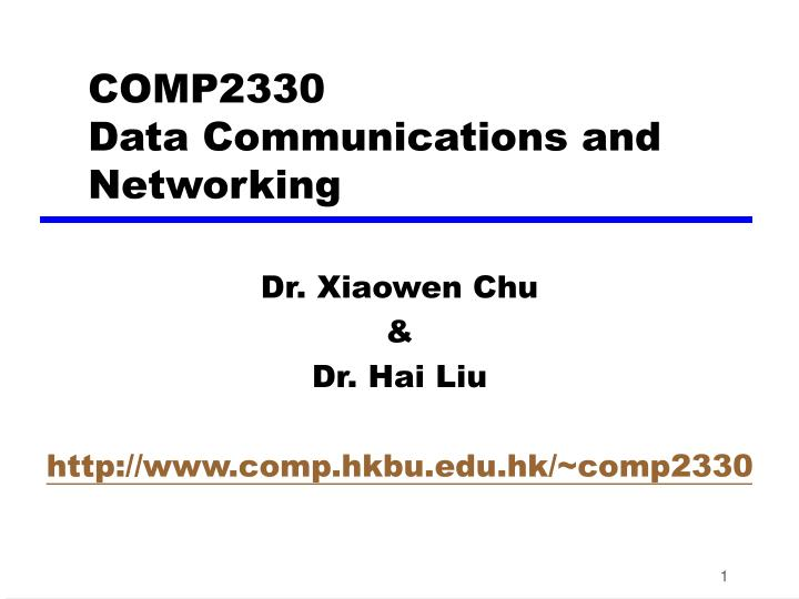 PPT - COMP2330 Data Communications and Networking PowerPoint