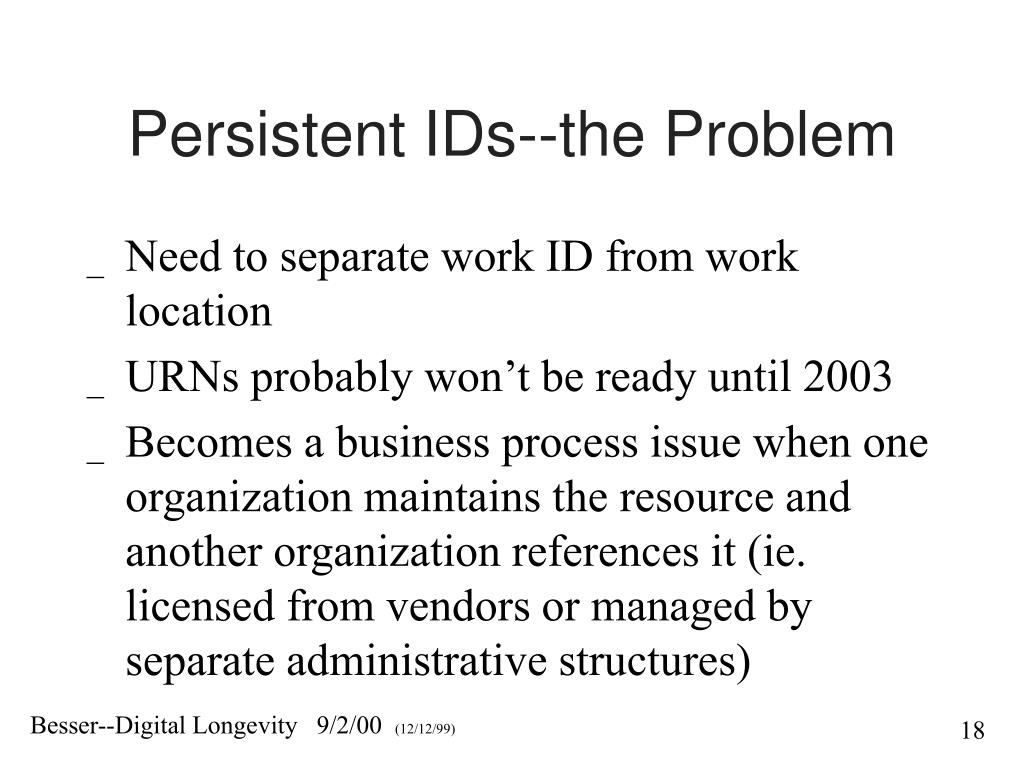 Persistent IDs--the Problem