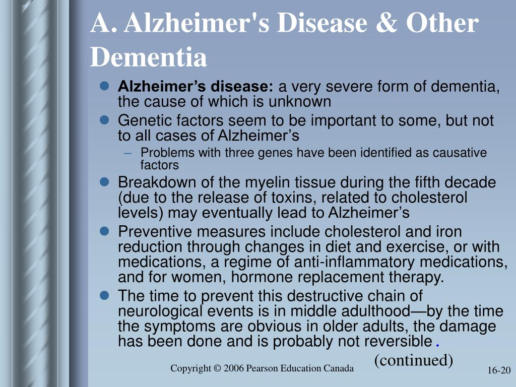 A. Alzheimer's Disease & Other Dementia